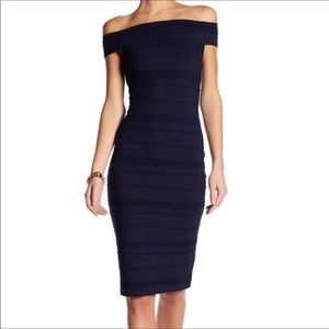 Ted Baker Bardot Sheath Dress Midi Navy NWT
